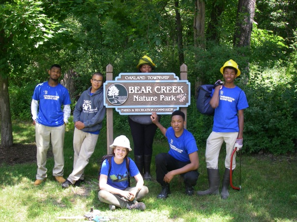 SE Michigan Summer Conservation Corps crew, Bear Creek Nature Park, July 2014.