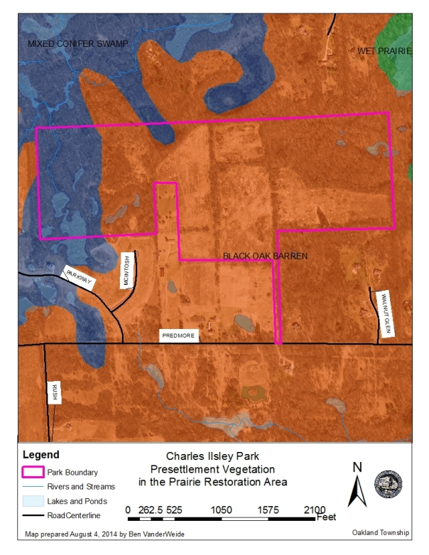 Pre-setttlement vegetation map for Charles Ilsley Park. When this area was originally surveyed in the 1800s, the surveyor noted the general vegetation types at each corner. The notes of the surveyors were then used to get a rough idea of what plant communities used to be in the area.