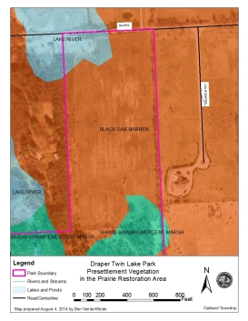 Pre-settlement vegetation may for the northeast panhandle of Draper Twin Lake Park.