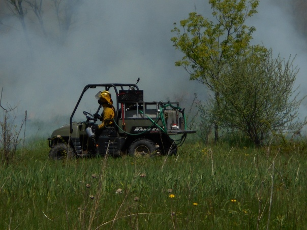 The burn plan specifies the special equipment needed to safely complete the burn. This often includes an ATV with additional water.