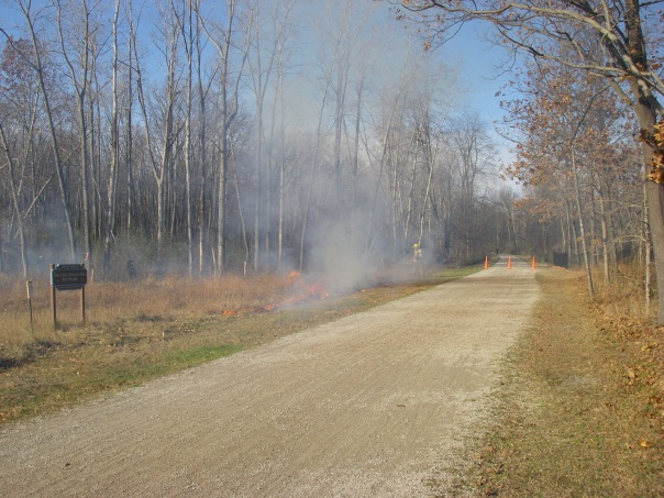 """The first step was to build a safe """"black"""", burned area on the downwind side."""