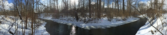 Even a panoramic photo cannot adequately capture the interaction of the water, sky, and trees