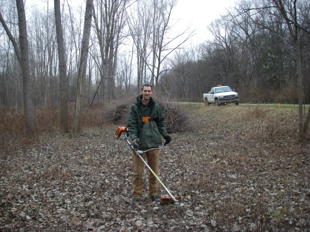 Cutting buckthorn, autumn olive, privet, and other invasive shrubs is much easier in the winter without insects, heat, and leaves.