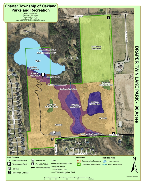 Map of Draper Twin Lake Park showing accessibility improvements and natural community types.