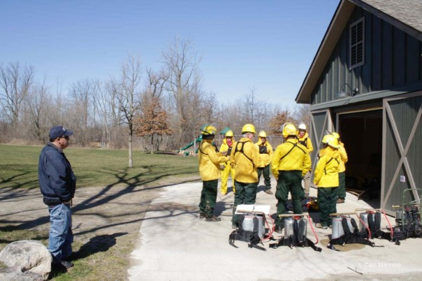 Volunteer fire crew preparing to burn, March 2016.