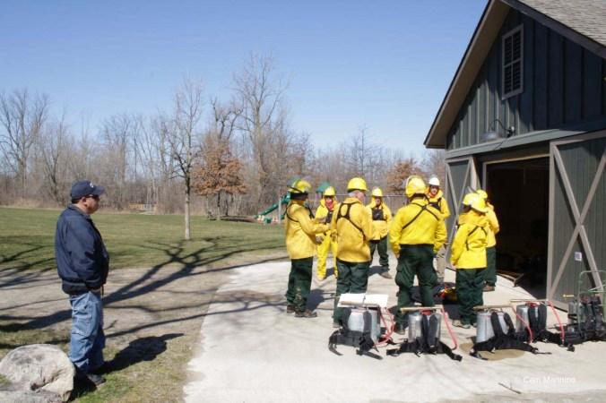 Volunteer fire crew preparing to burn, March 2016.