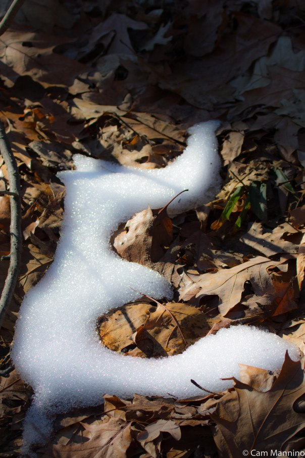 Letter E made of snow BC