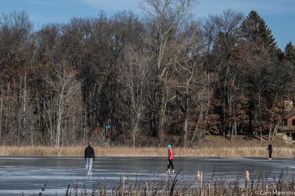 Skaters just before the January thaw started at Draper Lake