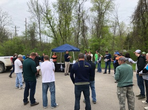 Ben explains garlic mustard identification before we headed out to the trail.
